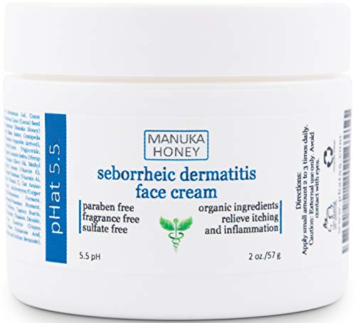 Seborrheic Dermatitis Cream with Manuka Honey, Coconut Oil and Aloe Vera - Moisturizing Face and Body Anti Itch Cream and Skin for Sensitive Skin - Natural & Organic Cream (8 oz)
