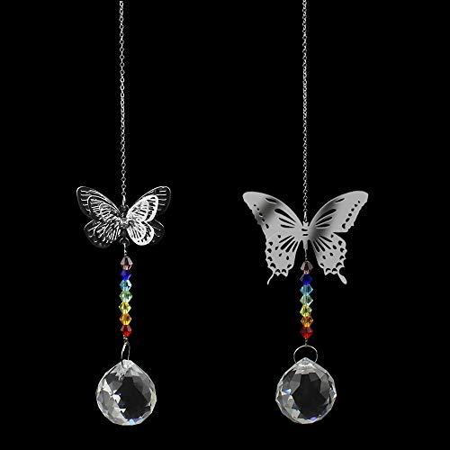 KingYH 2 Stück kristallanhänger Deko Kristall Schmetterling Prismen Handgemachte DIY für Kronleuchter Lampe Weihnachten Fenster Dekor