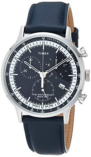 Timex Men's Waterbury Classic Chrono 40mm Watch – Silver-Tone & Navy with Genuine Leather Strap