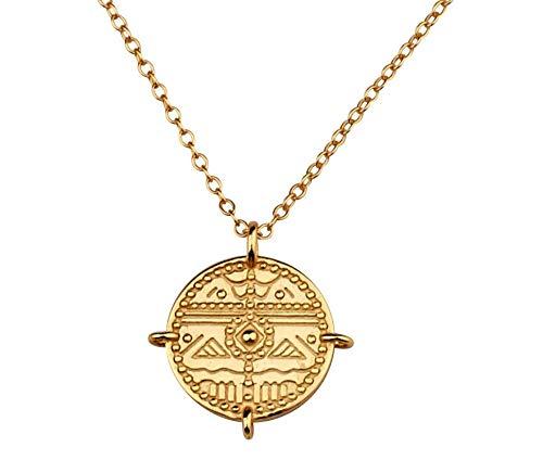 Brandlinger ® Atelier Amulett aus vergoldetem 925 Sterling Silber. Halskette Gold Medaillon mit Kettenlänge 40 cm + 5 cm