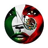 Meili Shop Reloj de Pared Decorativo Bandera de México Grande Chica Retrato Reloj Redondo