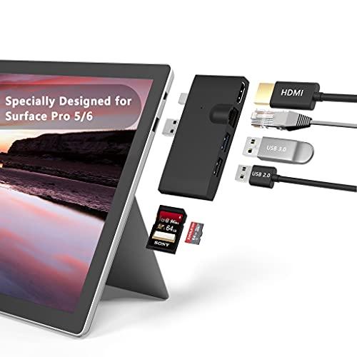 Bawanfa Surface Pro USB Hub Docking Station + 1000M Ethernet LAN + 4K HDMI + Adaptador de concentrador USB 3.0 +USB 2.0 + Lector de tarjetas SD / TF (Micro SD) para Microsoft Surface Pro 5 / Pro 6
