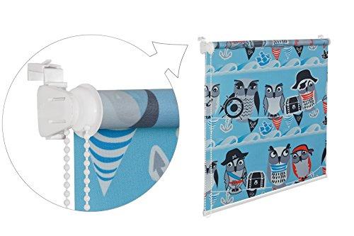 KS Handel 24 Store enrouleur de fenêtre pour chambre d'enfant Motif chouette Bleu/blanc/noir/rouge 70 x 150 cm