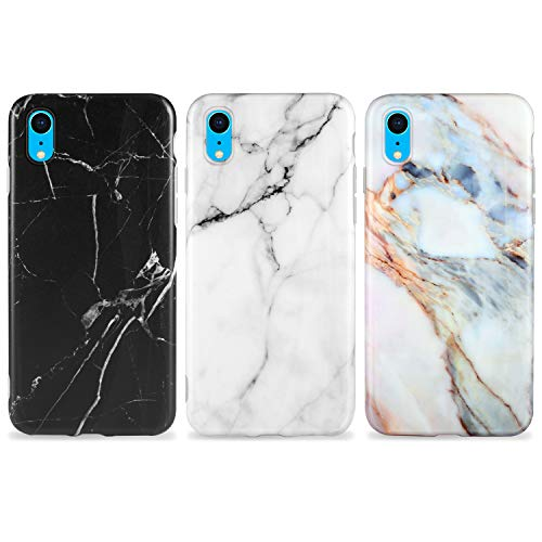 AROYI [3 Stück iPhone XR Hülle Matt Marmor, Weich Silikon Handyhülle Stein Marble Ultra Dünn Handytasche Flexibel Kratzfest Schutzhülle Cover für iPhone XR