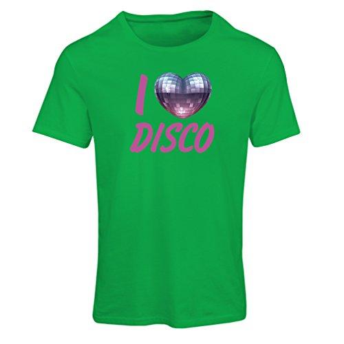 lepni.me Camiseta Mujer Amo el Disco - Ropa Retra de la música (Small Verde Multicolor)