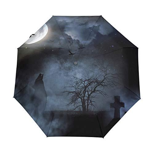 Faltbarer Reise-Regenschirm, Halloween, Nacht, Mond, Wolf, Baum, Kunst, Sonnenschutz, winddicht, regendicht, tragbar, automatischer Sonnenschirm