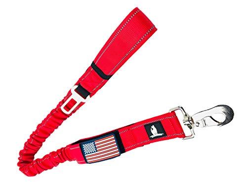 Taktische Bungee K9 Hundeleine, 3,8 cm breit, strapazierfähiges Nylon, elastisch, stoßabsorbierend, Militärhund, Training, Leine mit abnehmbarer amerikanischer Flagge, 36