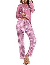 NA Pijamas Mujer, Pijama Larga Mujer Algodón Pijamas Mujer Gato de Manga Larga Conjunto Pijama Mujer Ropa de Casa Dormir Pijama Estampado en Cuello Redondo Suave para Casual Rosado XL