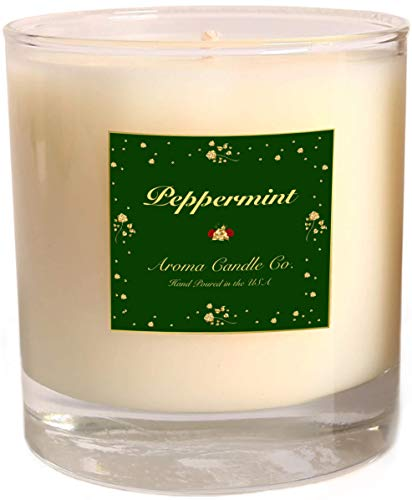 Aroma Candle Company Scented Candles | Aromatherapy Candles | Scented Candle For Home | 100% Soy Wax - Paraffin Free | 100% Pure Therapeutic Grade Peppermint Essential Oil | 10 OZ | Hand Poured In USA