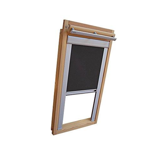 Easy-Shadow Dachfenster Verdunkelungsrollo Komfort Rollo für Typ Roto WDF Designo R6 / R8 / R84 / R85 / R86 / R88 / R89 / R6_K/H R8_K/H R8_K/H SR Größe 7/14 - in der Farbe dunkelgrau