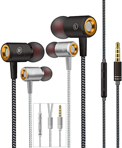Wired in Ear Headphones, Earbuds, Full Metal Earphones with Mic and Volume Control, High Definition, Noise Isolating, Deep Bass, Ergonomic Design &Crystal Clear Sound,3.5mm Jack(Black+Silver)