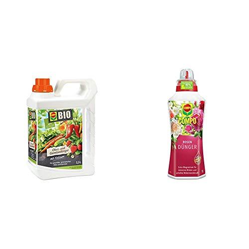 Compo BIO Obst- und Gemüsedünger für alle Obst- und Gemüsesorten, Natürlicher Spezial-Flüssigdünger, 2,5 Liter & Rosendünger für alle Rosen im Zimmer, in Kübeln, Beeten sowie im Freiland, 1 Liter