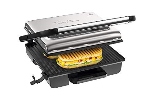 Tefal Grill Inicio Adjust GC242D - Grill de carne, pescado y verduras, función sandwichera y panini con termostato regulable de 2000 W, bandeja recolectora de jugos antigoteo, fácil de almacenar