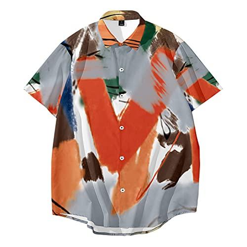 CHUIKUAJ Hombre Moda Camisas Manga Corta - Casual Cárdigan/Creativo Impreso Poliéster Camisetas/Primavera Verano Estilo Hip Hop Estilo Callejero/Gran Tamaño S-6XL,Multicolour-Xlarge