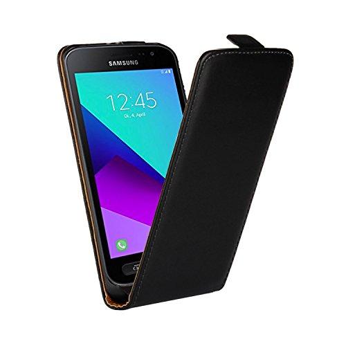 Ambaiyi Flip Leder Hülle Handyhülle Klapp Echt Ledertasche Schutzhülle für Samsung Galaxy Xcover 4, Schwarz