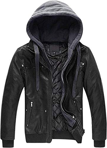 Uaneo Men's Zip Up Faux Leather Jacket Outerwear with Removable Hood (X-Small, Black)