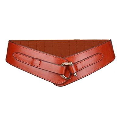 Vintage Western Women Leather Wide Belt Buckle Elastic Waist Belt for Dress,Brown,One Size