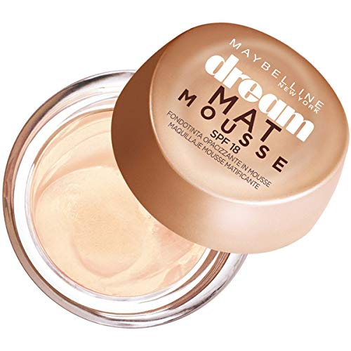 Maybelline New York Fondotinta Dream Mat Mousse, Base Opacizzante in Mousse, 21 Nude