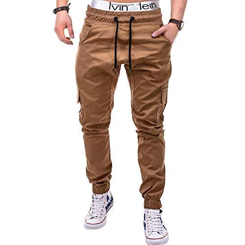 lexiart Mens Fashion Athletie Joggers Pants - Casual Sport Sweatpants Slim Fit Cargo Pants Khaki