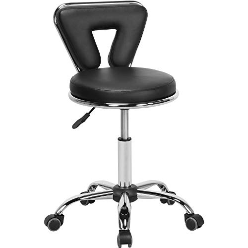 Yaheetech Hydraulic Rolling Swivel Salon Stool Chair Height Adjustable Home Spa Massage Manicure Facial Stool with Backrest and Wheels,Black