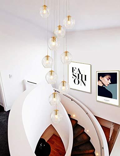 10 lampen duplex Villa trappen kroonluchter glazen bolletjes lange kroonluchter voor woonkamer restaurant moderne minimalistische kroonluchter Europese mode creatieve hoge plafond hanglamp