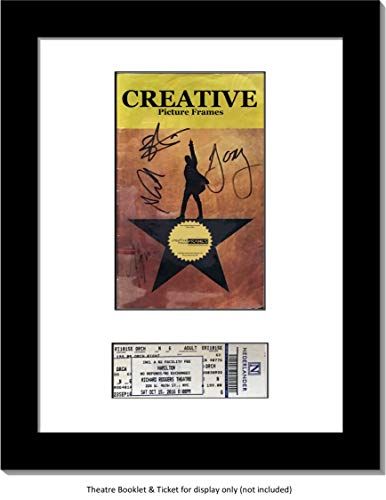 CreativePF [11x14bk-w] Black Theatre Frame with White Matting, Holds 5.5x8.5-inch Media Plus Ticket Including Installed Wall Hanger (Theatre Bill Not Included)