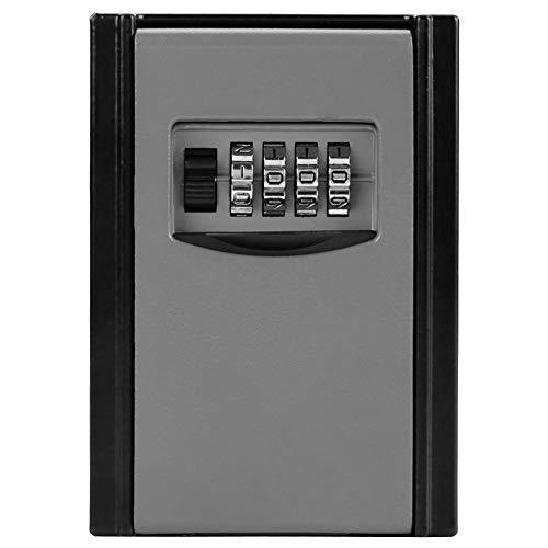 EVTSCAN Caja de almacenamiento de llaves con contraseña combinada de 4 dígitos Herramienta de bloqueo de seguridad montada en la pared(gris)