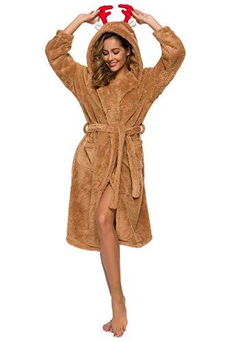 Alcea Rosea Gift for Her Women's Bathrobe Melange Grey Robe Cute Robe (Brown, S/M) …