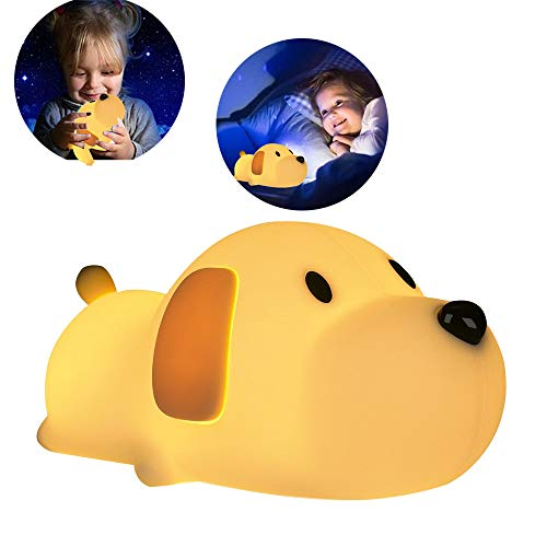 LED Night Light for Kids ,Soft Silicone Puppy LED Lamp with Sensitive Touch Control, Baby Nursery Lamp with Warm/Cool White Dual Modes-USB Rechargeable,Brightness Adjustable, Timing Function