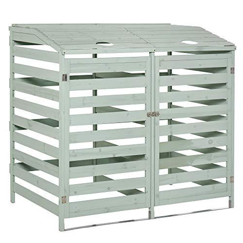 Outsunny Abri poubelles - abri de Jardin - 2 Portes verrouillables - dim. 131L x 85l x 125H cm - Bois Sapin Vert d'eau