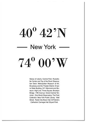 Panorama Póster Coordenadas Ciudad de New York 35 x 50 cm - Impreso en Papel 250g - Cuadros Decoración Salón - Cuadros Dormitorio - Póster Decorativos - Cuadros Modernos