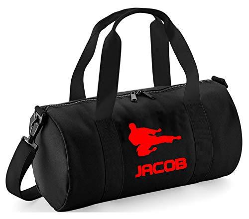 Personalisierbare Tasche für Kinder, Fliegender Karate-Kick, Black / Red Print, 40 x 20 x 20cm