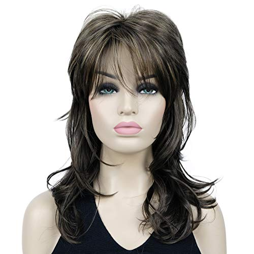 Lydell Long Soft Shaggy Layered Classic Cap Full Synthetic Wig Wigs (8TT124 Brown with Highlights)