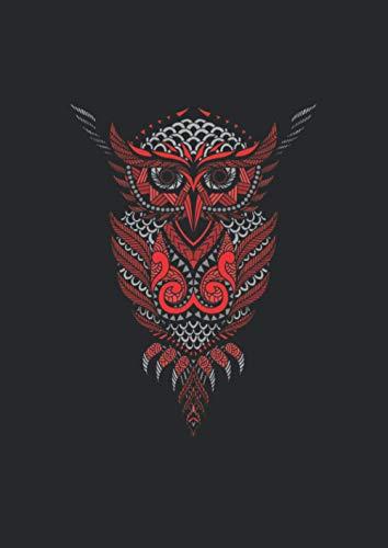 A4 Notizbuch liniert mit Softcover Design: Mandala Eule Tribal Tatto Symbol Geschenk: 120 linierte DIN A4 Seiten