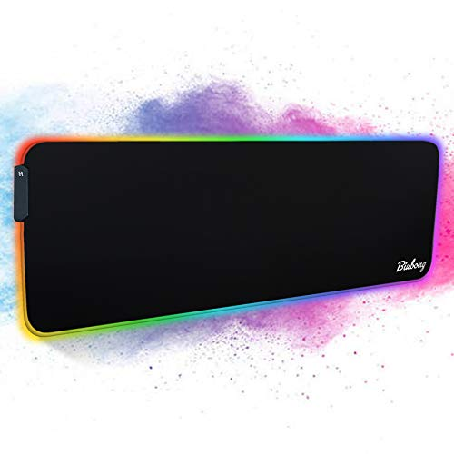RGB Gaming Mouse Pad Mat - Large Led Expanded Soft Mouse Pad with 11 Light Modes, Anti-Slip Rubber Base with Waterproof Coating Mouse Mat for Gamer Computer (XL)