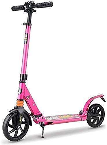 monopatín patinete Scooter de patada plegable   Scooters de absorción de choque para 130-185cm altura   Scooter de calle ligero para niños, adolescentes y adultos, 100 kg de carga ( Color : Pink )