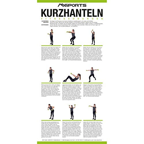 MSPORTS Übungsposter für das Hanteltraining ca. 44 x 21 cm | 9 Übungen