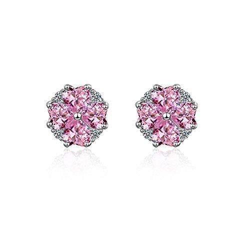 Pendientes Kiccoum con diseño de flor de cerezo, elegantes, bonitos y bonitos, con diamantes de imitación y circonitas, ideales como regalo de cumpleaños