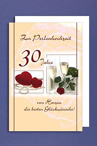 Perlenhochzeit Grußkarte Hochzeitstag 30 Jahre Sektgläser rote Herzen Perlen 16x11cm