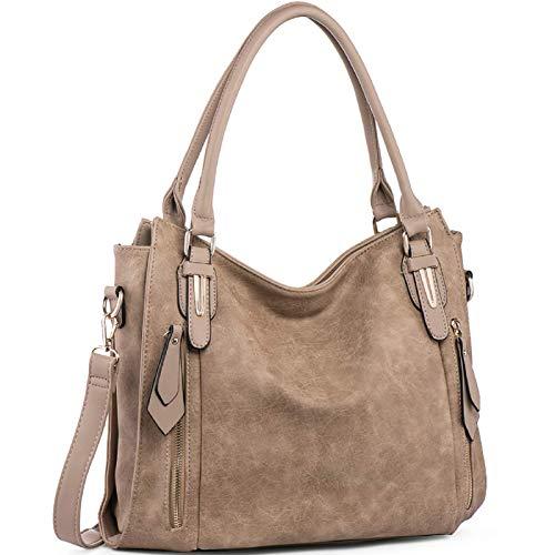 Handbags for Women Shoulder Tote Zipper Purse PU Leather Top-handle Satchel Bags Ladies Medium Size Uncle.Y Khaki