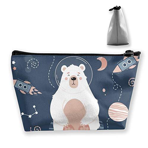 Niedliche Eisbär Planeten Sterne Sternbilder Trapez Kosmetiktaschen Organizer Tragbare Beutel Tasche Wasserdicht für Frauen, die Reisen tragen