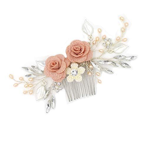 Yazilind Kristall Hochzeit Elegante Tuch Blume Perlen Haar Kamm Brautschmuck Haarschmuck