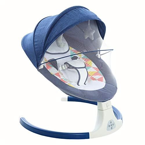 MGCD Baby Shining Smart Electric Baby Cradle Culla Poltrona a Dondolo Bambino Bambino Bluetooth Bluetooth Bluetooth Bluetooth con Telecomando della Cinghia (Color : Blue)