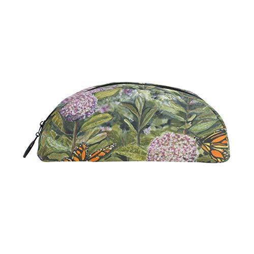 Twill Semicircular Pencil Case Crayon Case Maquillage Sac Cosmétique pour Femmes Hommes Monarque-Papillons-Aug-Sm