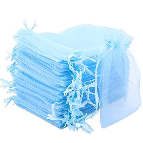 Leeyunbee 100PCS 10x15cm Bolsa de Organza Azul Claro, Bolsitas de Organza, Bolsas para Envoltura de Joyas, Bolsas de Organza de Regalo con Cordón para Boda Favores Joyas y Dulces