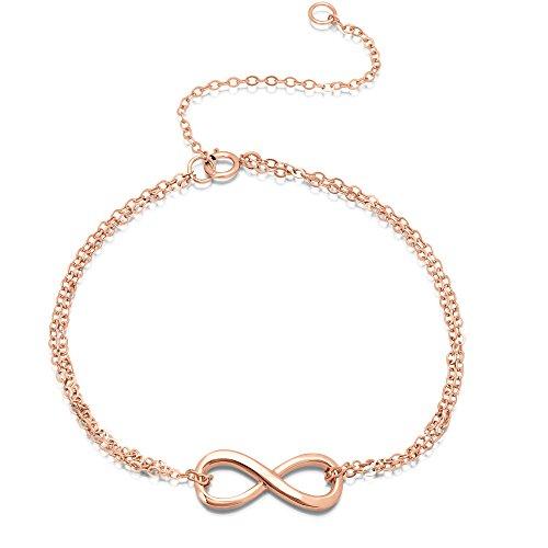 DTLA Sterling Silver Double-Strand Infinity Bracelet Figure 8 Rose Gold Plated- Adjustable 7 or 9 inch