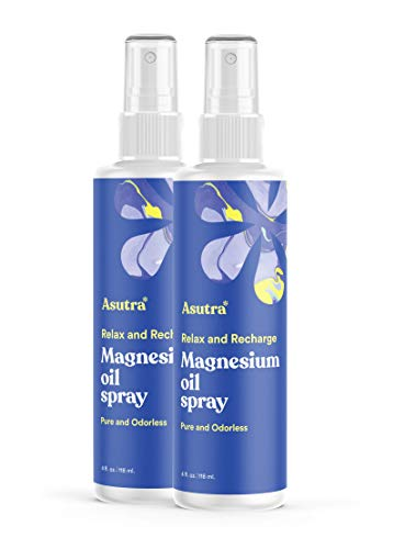 ASUTRA Topical Magnesium Chloride Oil Spray, 4 fl oz (Pack of 2)| Rapid Absorption | Relieve Muscle Cramps | Fight Joint Pain | Stress, Anxiety, Headache Relief | Pure Zechstein | Promotes Collagen & Energy