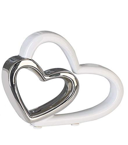 Moderne Keramik Skulptur Herz DUO - stilvoller Aufsteller als Herzen Deko-Figur - kunstvolles Keramikherz als romantische Dekoration für den Wohnbereich, Farbe Silber & Weiß, Maße 12x15x3,5 cm