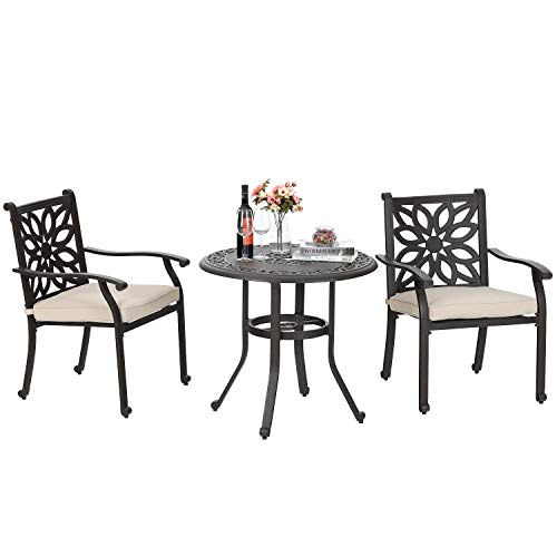 Sophia & William Patio 3 Pieces Dining Set Outdoor with 2 Dining Chairs and 1 Round Dining Table, Patio Cast Aluminum Furniture Table and Chairs Set