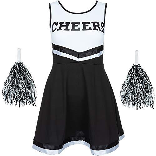 Redstar Fancy Dress - Damen Cheerleader-Kostüm - Uniform mit Pompons - Halloween, American High School - 6 Größen 34-44 - Schwarz - L